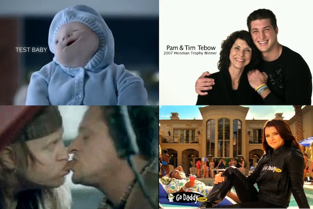 homeaway test baby smushed baby tim and pam tebow focus on the family snickers mechanic guys kissing godaddy lola danica patrick super bowl commercials controversies ads