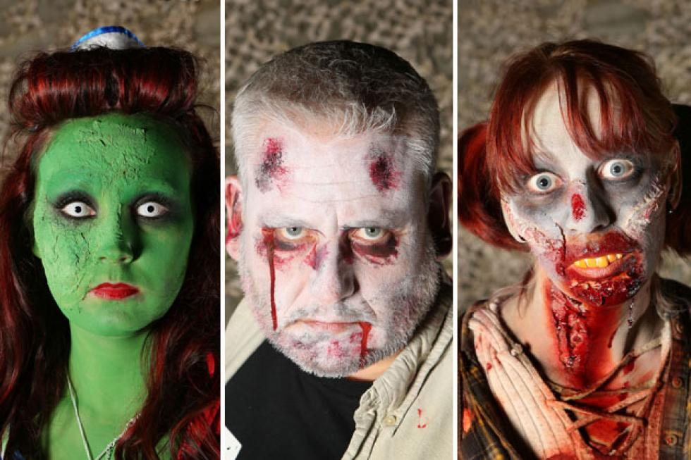people dressed in halloween zombie costumes could be real zombies