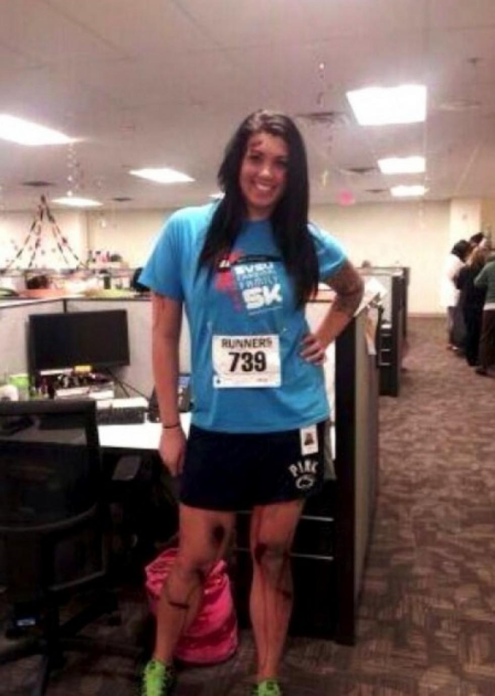 alicia lynch wears boston marathon bombing victim costume