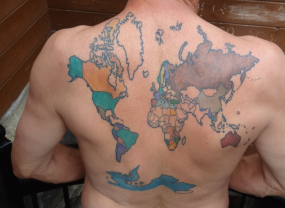 Louisiana man documents travels on world map back tattoo gumiabroncs Image collections