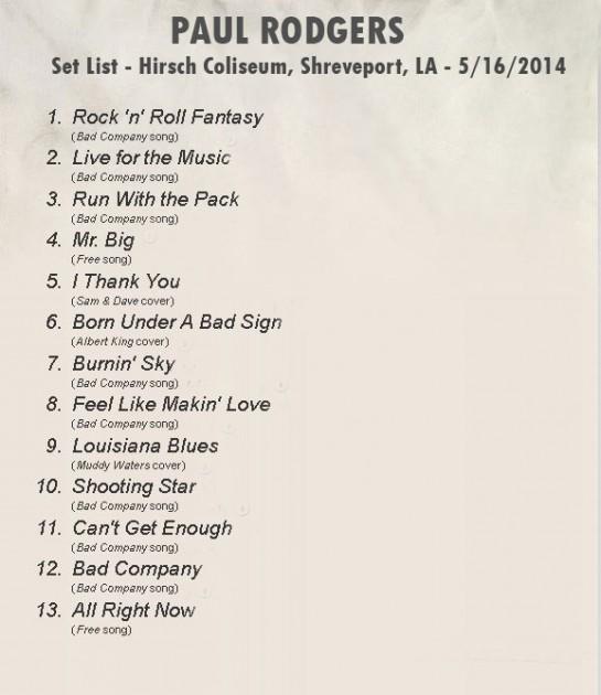 Setlist - Paul Rodgers